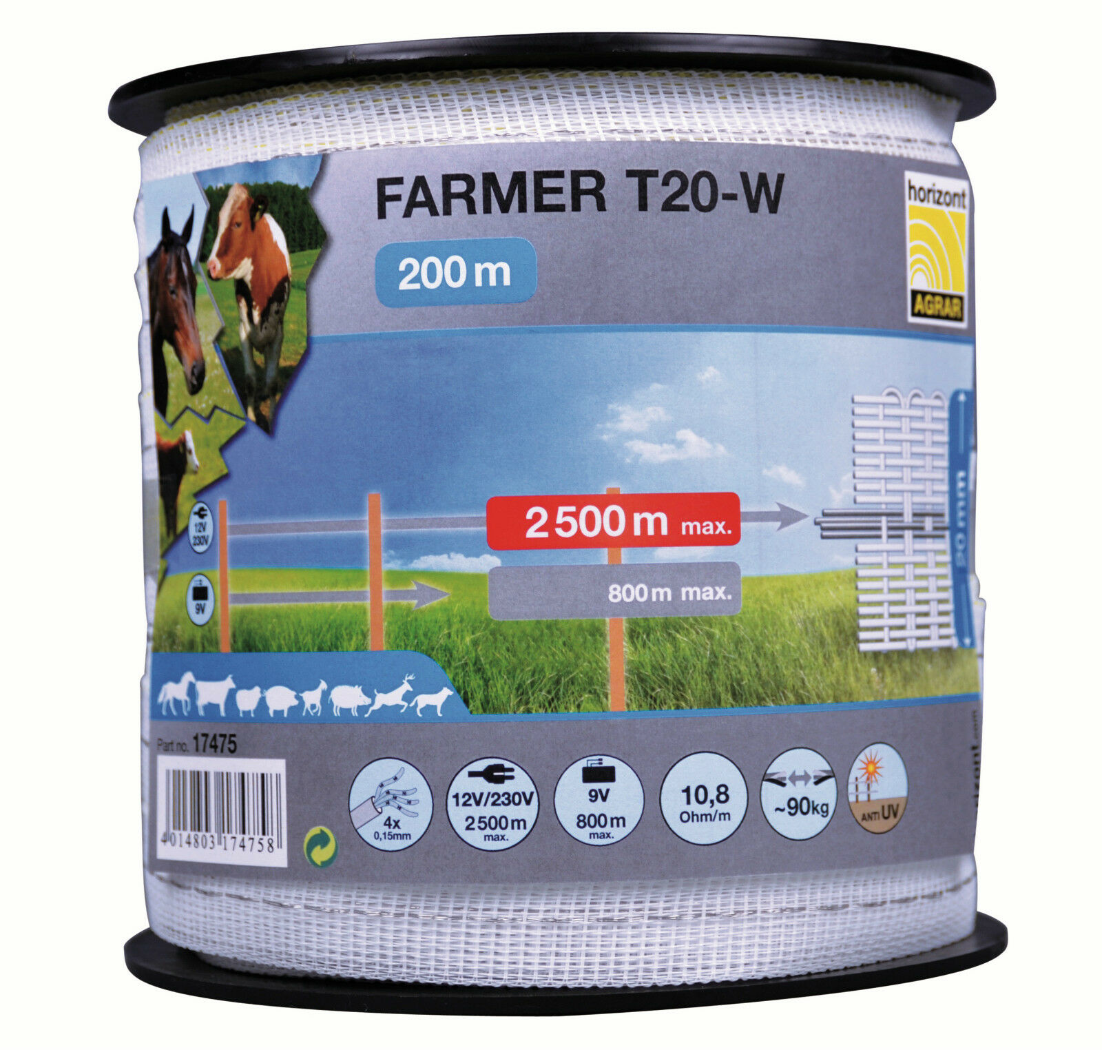 1000m (5 x 200m spools) of 'Farmer' 20mm electric fence tape + FREE connectors