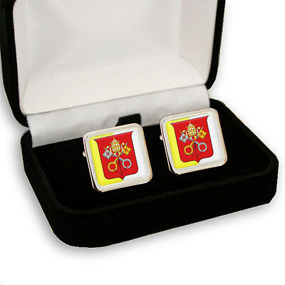 VATICAN CITY ROMAN CATHOLIC POPE MEN'S CUFFLINKS GIFT ENGRAVING