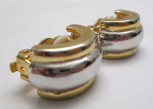 Vintage-Clip-On-Earrings-Gold-amp-Silver-Tone-Cuff-Hoop-Small-Heavy