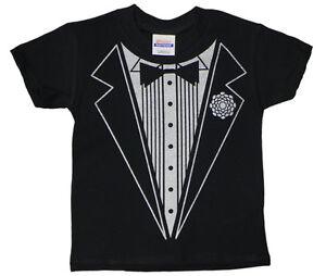 Kids-youth-toddler-size-black-Tuxedo-design-funny-tee-shirt-tux-t-shirt