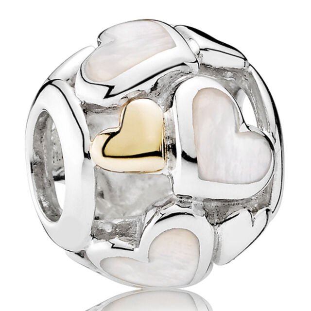 PANDORA Charm Element 791879 MOP Herzen Silber Gold Bead