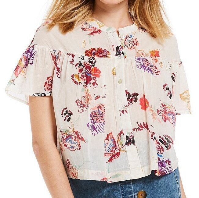 Free People OB769768 Sweet Escape Woven Button Down Floral Print Shirt Ivory