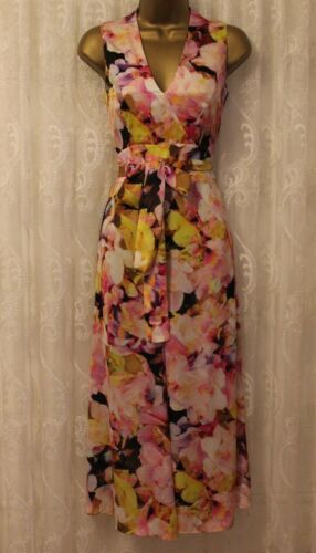 Karen Millen Floral Bloom Print Wrap Tie Culotte Jumpsuit Dress PA054 UK 6-10