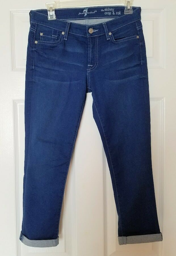 7 FOR ALL MANKIND Women's Skinny Crop & Roll Denim Jeans Pants, Size 27