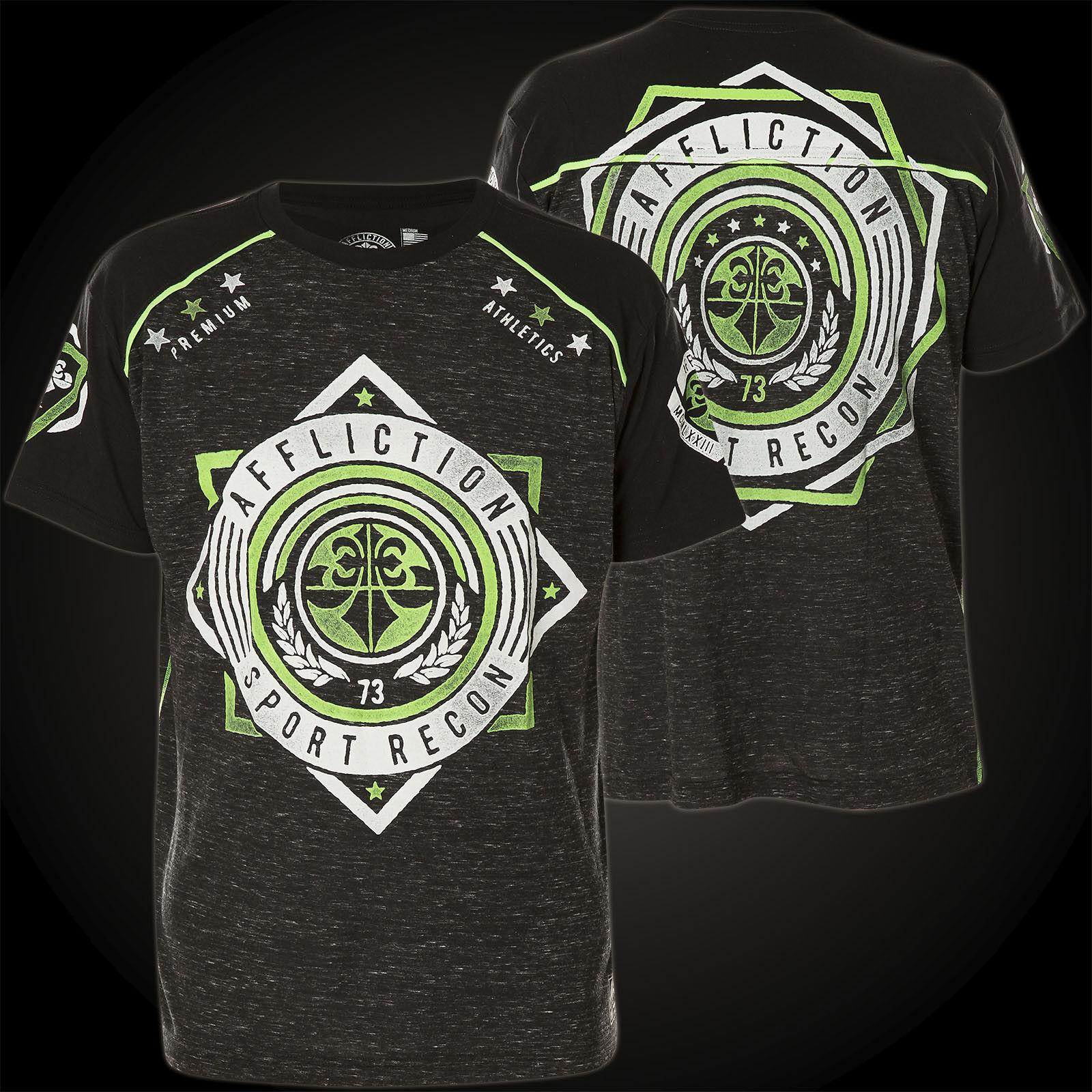 Affliction T-SHIRT SPORT 73 GRIGIO NERO T-shirts Uomo