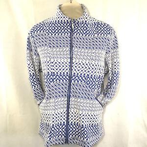 Størrelse Jacket Erin Print Stretch Ny London 804015528920 Blå 1x Plus Fuld Hvid Womens Zip SwwIxqER