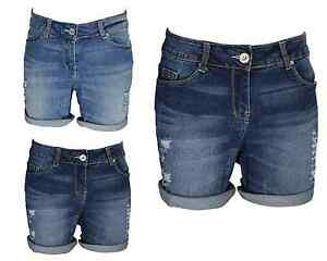 Ladies-Boyfriend-Stretchy-Denim-Shorts-Distress-Half-Pant-Ripped-Hotpants-RollUp