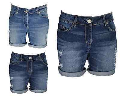 Onorevoli Boyfriend ELASTICO Denim Shorts sofferenza Mezza Pantaloni Strappato Hotpants aggregazione