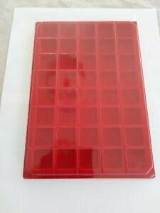Lots-de-10-plateaux-feutrine-rouge-carre-avec-couvercle