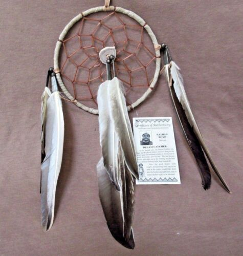 Native Navajo Handmade Medium//Large Size Leather Dream Catcher  M0139