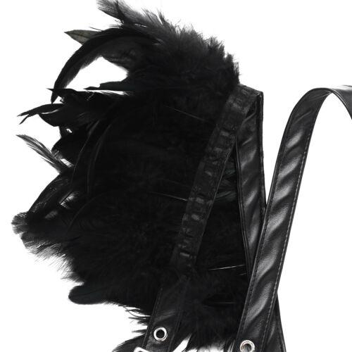 2Pcs Women Feather Adjustable Harness Cage Bra Shoulder Chest Strap Cape Tops