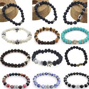 Natural-Handmade-Unisex-Lava-Rock-Bracelet-Gemstone-Beads-Buddha-Head-Beaded