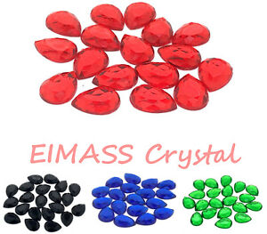 50-x-EIMASS-Glue-on-Flat-Back-Teardrop-Crystals-Pear-Shape-Rhinestone-8765