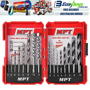 MPT-Quality-HSS-Steel-Drill-Bit-Set-16pc-Metal-Wood-Masonry-Drilling-Kit-amp-Case