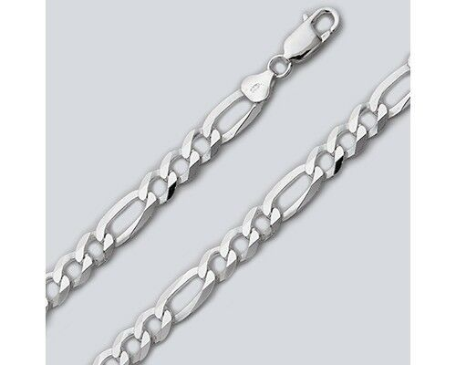 """20/"""" Necklace Sterling Silver Men/'s Figaro Chain Pure 925 Italy New USA Wholesale"""