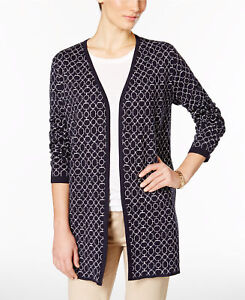 NWT-Charter-Club-Iconic-Print-Long-Sleeve-Open-Neckline-Cardigan-Reg-89-50