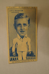 1950-Vintage-Cricket-Card-Carreras-Turf-Slides-JHG-Deighton-Lancashire