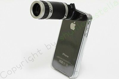 8X Optical Zoom Lens Camera Telescope Hard Skin Case Cover For Apple iPhone 4S 4