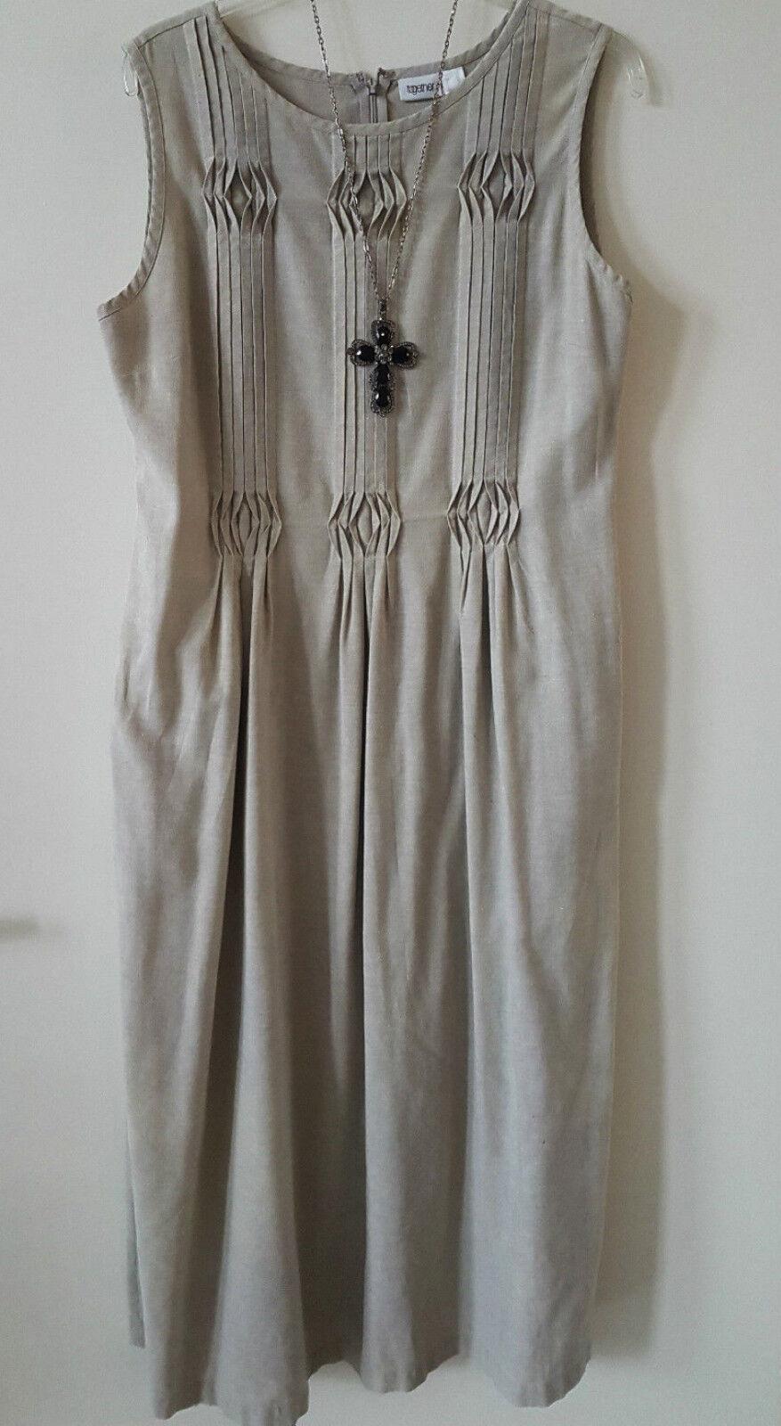 24b02925c0a15b ärmelloses Leinenkleid Kleid Umstandskleid Gr.42 Sand hell Beige Together  Farbe npycli2182-neue Kleidung