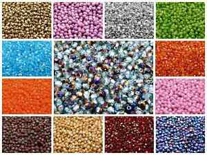 CHOOSE-COLOR-100pcs-4mm-Round-Faceted-Fire-Polished-Beads-Czech-Glass