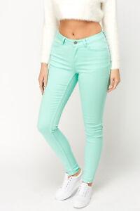 Ladies-Ex-Zara-New-Woman-Turquoise-Super-Skinny-Stretchy-Twill-plain-Jeans-BNWT
