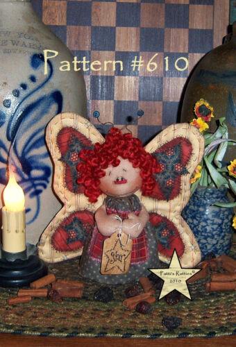 "Primitive Patti's Ratties Raggedy Ann Butterfly 5/"" Stump Doll Paper Pattern #610"
