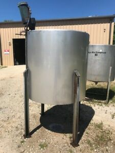 Details about 400 Gallon 316 Stainless Vertical Mix Tank On Legs 2HP Mixer  Cone Bottom