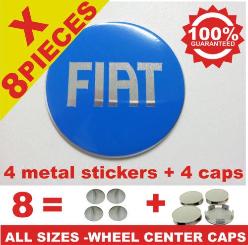 tapas llantas rueda  wheel center caps 4 METAL STICKERS 4 CAPS FIAT 4