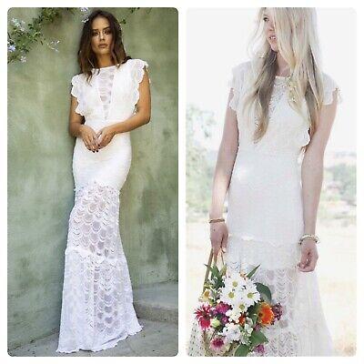 Free People Wedding Dress.Nightcap By Free People White Caletto Maxi Sexy Vintage Wedding Dress Sz Xs S Ebay