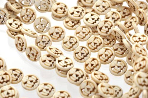 1 Strand Small WHITE Jack O Lantern Beads 26 beads howlite stone 15mm how0017