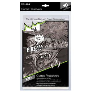 (Pack of 10) Ultra Pro Comic Book Preservers Current / Modern Size Bags Boards