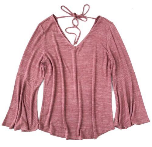 LOFT Pink Space-Dye Bell Sleeve V-Neck Sweater Tee NWT Womens M Petite