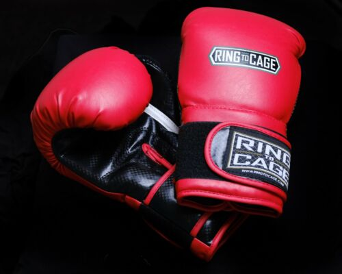 Ring To Cage Boxing Gloves  L-16 Oz Red and Black Unisex