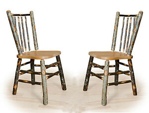 Details about Amish set of 2 Rustic Hickory Stick-Back Dining Chairs  Kitchen Chair 425