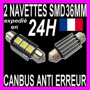 2-AMPOULE-NAVETTE-A-3-LED-SMD-C5W-36MM-ANTI-SANS-ERREUR-CANBUS-PLAFONNIER-PLAQUE