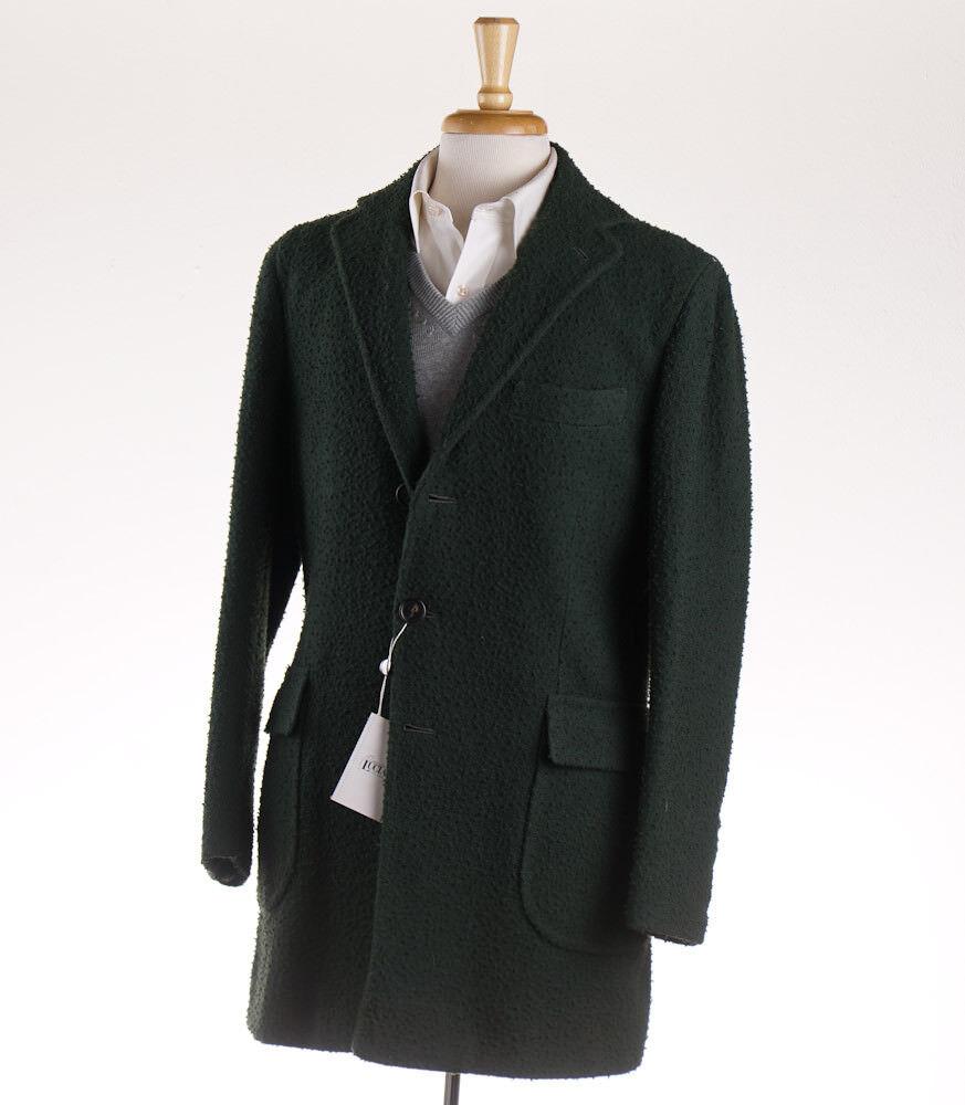 NWT 4000 ORAZIO LUCIANO Forest Grün Casentino Wool Overcoat 40 R (Eu 50) Coat