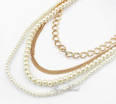 Perlen Gold Halskette Perlenkette Mehrreihig Trendy/&Stylisch Kolye Pearl Creme