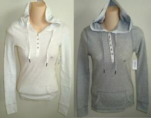 Womens-AEROPOSTALE-Hooded-Waffle-Knit-Thermal-Henley-size-XS-NWT-9517