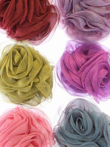Grand Tripple Mousseline Fleur Swirl pince à cheveux