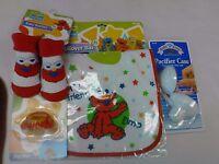 Baby Elmo Lot Of 4 Bib, Booties, Pacifier & Case Nip Great Gift