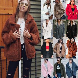 Womens-Winter-Teddy-Bear-Pocket-Fluffy-Coat-Fleece-Fur-Jackets-Outerwear-Hoodies