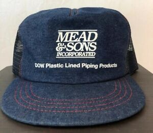Vintage-Trucker-Mesh-SnapBack-MEAD-amp-SONS-INC-PIPING-DOW-Jean-Denim-Hat-Cap-USA