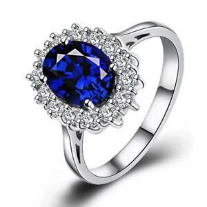 6-4CT-Blue-Tanzanite-White-Topaz-925-Sterling-Silver-Gemstone-Ring-Size-5-9