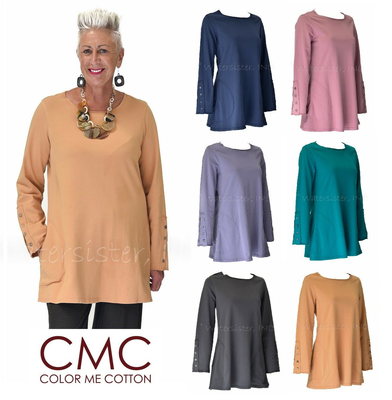 CMC by Farbe ME COTTON USA  5393 French Terry SLEEVE DETAIL TUNIC Top  2017 FALL