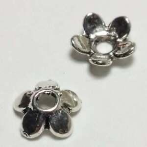 50pcs Antique Silver Flower Bead Caps 6mm - B19897