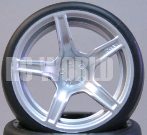 RC Car 1//10 DRIFT WHEELS TIRES Package 3MM Offset SILVER 5 Star Rims Set Of 4