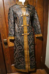 Vintage leather chinese coat long jacket steampunk cosplay mandarin
