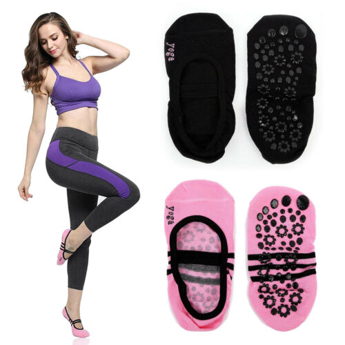 Yoga Socks Women Non Slip Anti-Skid Pilate Grip Socks 1 Pair Pink /& 1 Pair Black