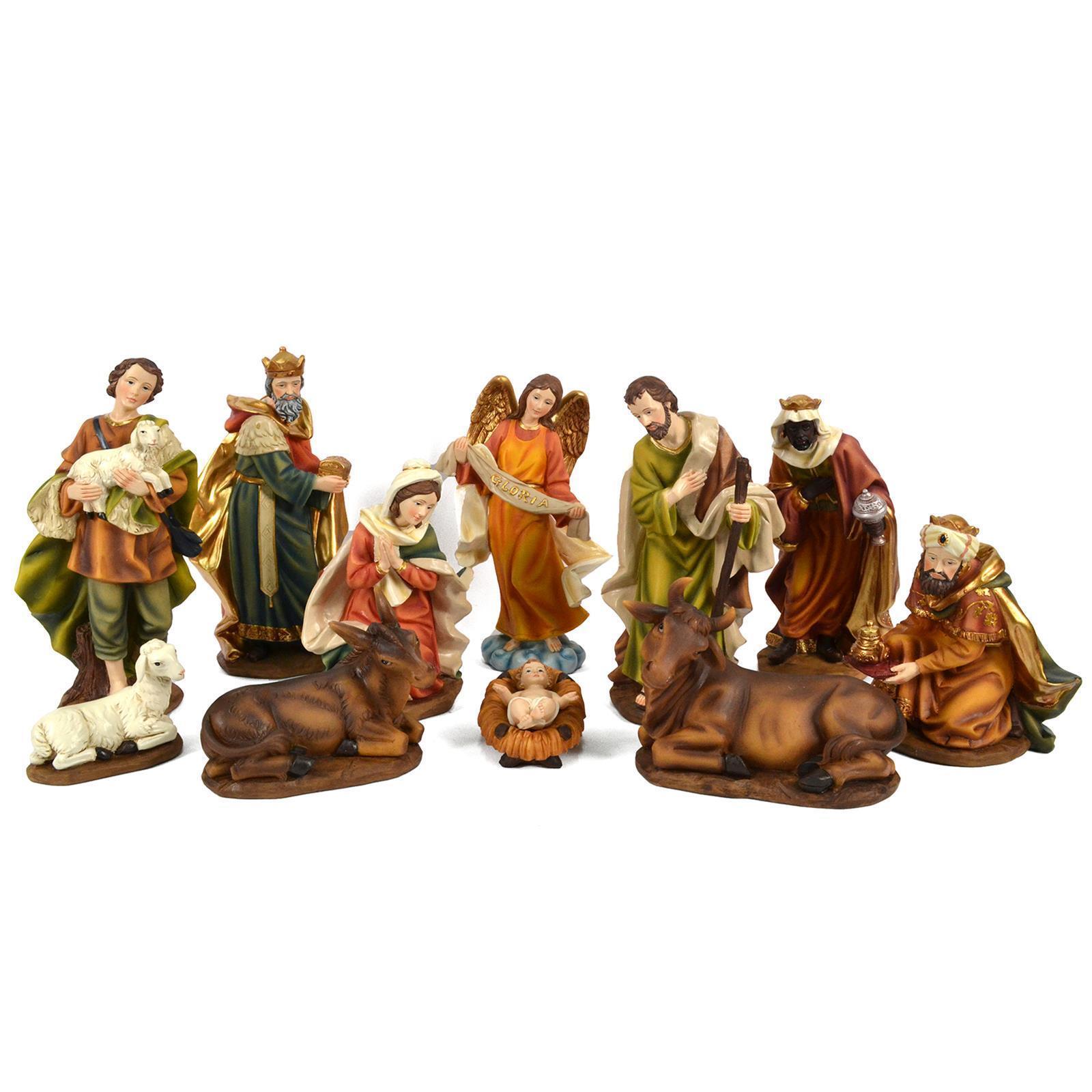 SET 11 PEZZI H 20 CM NATIVITA' STATUE PRESEPE PERSONAGGI PRESEPIO MESTIERI MESTI