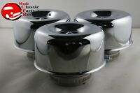 Smooth Chrome Hot Rat Rod Style Air Cleaners 2 Barrel 2 5/8 Custom Chevy Ford